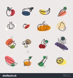 Vector set of vegetables: apple, aubergine, banana, carrot, garlic, tomato, pumpkin, pear, pepper, mushroom, cherry, grape, watermelon, onions, peas, lemon. Tasty vegetarian draw concept collection