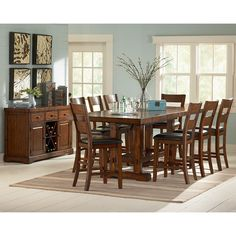 Steve Silver Zappa 9 piece Counter Height Dining Set - Tobacco / Cherry - SSC1498