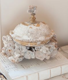 Annelle Primos, 17th cent Italian corona mounted into a rock coral base decorated with chalcedony rosettes