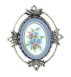 White Blue Cameo Brooch in Silver Leaf Frame