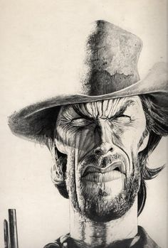 ~ Clint Eastwood by Charles Da Costa ~ Funny Caricatures, Celebrity Caricatures, Celebrity Drawings, Cartoon Faces, Funny Faces, Cartoon Art, Caricature Artist, Caricature Drawing, Realistic Cartoons