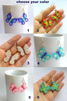 Butterfly Earrings-Fluttering Butterflies-Seed Bead Earrings-Butterfly Dangles-Beaded Small Earrings-Dangle Beadwoven Multicolor Earrings (12.90 USD) by Galiga