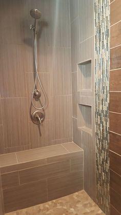 Custom Tiled Shower In 12x24 Porcelain Tile Installed At A