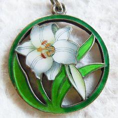Gustav Gaudernack design for David Andersen. Silver enamel lilly pendant 19051910
