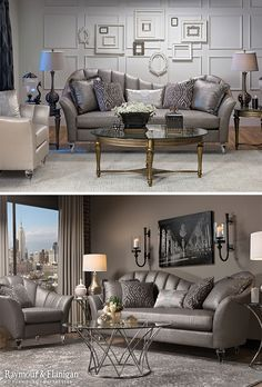 If we were forced to define the new Glitz living room collection in one word, it would simply be: fabulous. This set takes glamour to the next level with luxurious features like glistening gray upholstery, flared arms and subtle but stunning details like bejeweled, clear acrylic legs.