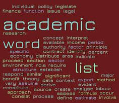 Academic Word List Coxhead (2000). The most frequent word in each family is in italics. There are 570 headwords and about 3000 words altogether