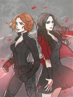 """Natasha and Wanda"" - by reammm; yeah but also looks like Starfire and Raven with swapped hairstyles."