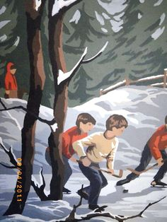 Vintage Boys Hockey Game Paint By Number Painting Woods Pond Winter Skating Snow Ice. $21.88, via Etsy.