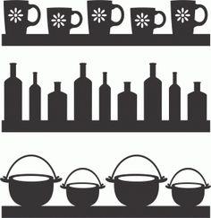 kitchen utensils silhouette vector free. Kitchen Borders Set 6 Utensils Silhouette Vector Free
