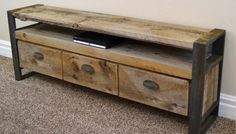 Reclaimed lumber makes the coolest projects. Free plans to build a unique rustic media console table. Rustic Media Console, Rustic Console Tables, Console Tv, Feng Shui, Narrow Sofa Table, Sofa Tables, Wood Entertainment Center, Rack Tv, Diy Tv Stand