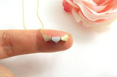 Tiny Three Hearts Necklaces Rose Gold Hearts by BellaEveJewelry