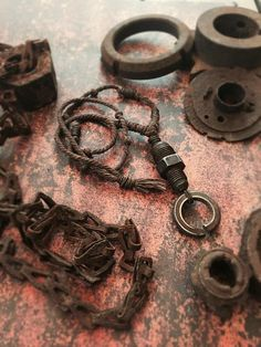 Scavenged Industrial Hardware Lock Washer & Hex Nip Coil Tribal Necklace