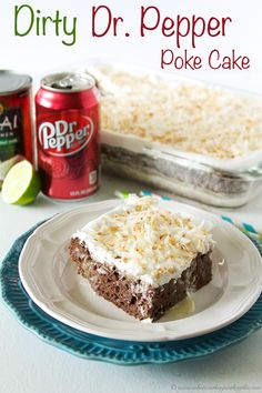 Dirty Dr. Pepper Poke Cake is absolutley divine!  You will fall head over heels in love with it! #recipes #dessert