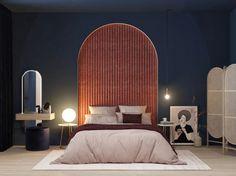 apartament#2 on Behance Art Deco Bedroom, Master Bedroom Design, Bedroom Wall, Bedroom Decor, Bungalow Interiors, Bungalow House Design, Sofa Design, Furniture Design, Estilo Art Deco
