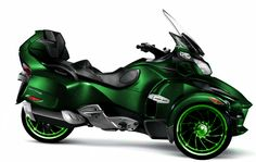 A 2011 Can-Am Spyder with custom rims and paint. Shana's preferred mode of transportation.
