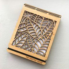 Custom wooden notebook with laser-cut leaf detail Laser Engraving, Laser Cutting, Printer, 3d Printing, Notebook, Detail, Impression 3d, Printers, Notebooks