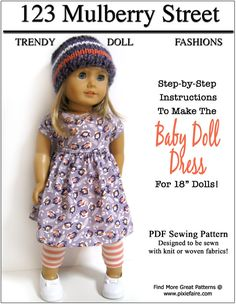 Baby Doll Dress 18 inch Doll Clothes PDF Pattern Download  398253bc1