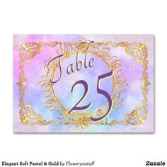 Shop Elegant Soft Pastel & Gold Table Number created by Flowerznstuff. Gold Wedding Theme, Beautiful Wedding Invitations, Wedding Matches, Elegant Wedding, Gold Table Numbers, Wedding Table Numbers, Card Table Wedding, Table Names, Filigree Design