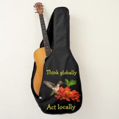 Think Globally Act Locally Red Flower Guitar Case -nature diy customize sprecial design