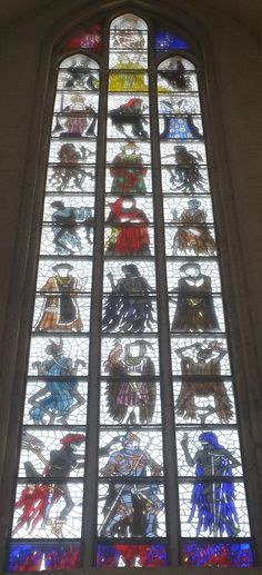 Glass Window with dance of death from Lübeck at St. Marien Church at Lübeck - made by Alfred Mahlau 1955/56