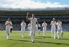 Steven Finn (Eng) 6 wickets, leads England off after equalling his best figures, vs New Zealand, 3rd Test, Auckland, 2nd day, March 23, 2013
