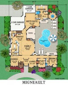 Migneault House Plan First Floor PlanTotal Heated: 7,192 Sq. Ft. First Floor: 4,575 Sq. Ft. Second Floor: 2,617 Sq. Ft. Width: 84 Ft. Depth: 108 Ft. Stories: 2 BEDROOMS Total: 5 Master Location: 1st Floor BATHROOMS Full: 5 GARAGE Bays: 3