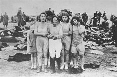 """""""[Image] was taken by a Nazi perpetrator of the mass killings of 2,749 Jews on the beach near the city of Liepāja, in Latvia, on December 15 through 17, 1941. Scholarly work has led to the identification of some of the women shown. From left to right: (1) Sorella Epstein; (2) believed to be Rosa Epstein, mother of Sorella; (3) unknown; (4) Mia Epstein; (5) unknown. Alternatively, (2) may be Paula Goldman, and Mia Epstein may be (5) instead of (4)."""""""