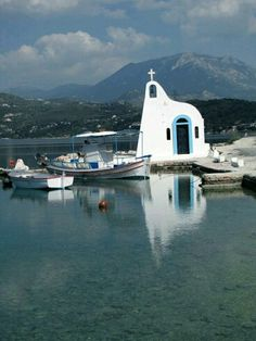Chapel in the Lake Heraion (Vouliagmeni) near Loutraki town, Corinth refecture, Greece Beautiful Places To Visit, Cool Places To Visit, Places To Travel, Mykonos, Places In Greece, Ocean Pictures, Famous Places, Kirchen, Greece Travel