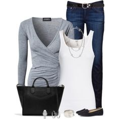 Gray V-Neck -- I like the wrapped front V-neck, the ruching is good too