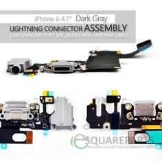 "iPhone 6  4.7"" Dark Gray Lightning Connector Assembly(USB Charging Port, Mic, Audio Jack, Antenna Cable)  #DarkGray #USBPort #LightningConnector #USBDock #Connector #8pin #iPhone6 #ReplacementParts #RepairParts #FlexCables #InternalParts #Apple"
