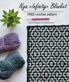 Nya Mosaic Blanket - Infinity version (FREE crochet pattern) (LillaBjörn's Crochet World) Tapestry Crochet Patterns, Mosaic Patterns, Crochet Stitches, Knitting Patterns, Afghan Patterns, Crochet World, Crochet Home, Diy Crochet, Crochet Birds