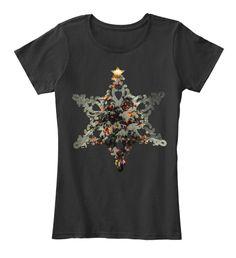 Snowflake   Hidden X Mas Tree Holiday Black Women's T-Shirt Front