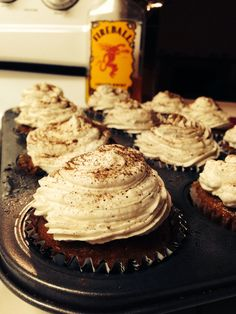 For Fall. Pumpkin cupcakes with cinnamon fireball frosting!