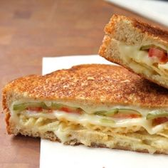 Grilled Cheese with Tomato, Pickles and Potato Chips--I replace the tomatoes with bacon (cooked first, of course) or ham.  You can also add avocado.