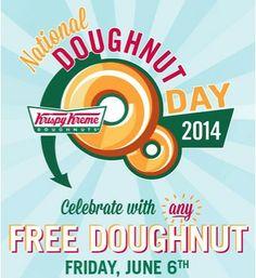 FREE Krispy Kreme Doughnuts on 6/6!!  YUM!