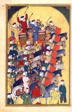 Janissaries and the parade musicians arriving, from Islamic Paintings, Indian Paintings, Modern Paintings, Oriental, Turkish Art, Oboe, Ottoman Empire, Illuminated Manuscript, Islamic Art