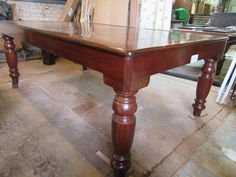 French polished antique snooker diner rollover table.