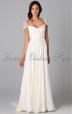A-line Chiffon Floor-length White Dress