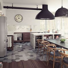 What do you think of the transition from tile to wood floors in this kitchen space? Do you like it and the color scheme?
