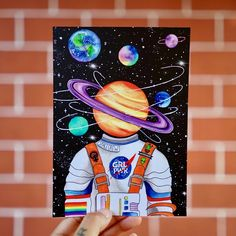 """""""Escapism"""" designed by the artist HEYEMILYDEE. This postcard is great for the space and astronaut lovers. To purchase visit www. Easy Canvas Art, Cute Canvas Paintings, Small Canvas Art, Mini Canvas Art, Acrylic Painting Canvas, Cool Art Drawings, Space Drawings, Colorful Drawings, Trippy Painting"""