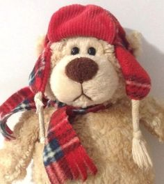"""Aflac 6/"""" Holiday Christmas Duck 2011 Red Plaid Flannel Cap//Scarf Macys Collect"""