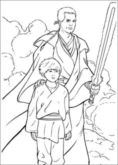 jedi knight qui-gon jinn fighting a duel with darth maul coloring page star wars | desenhos para