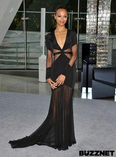 Zoe Saldana at the CFDA Awards, see what everyone else wore: http://buzznet.com/~g93bab9