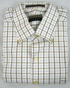 Robert Talbott Plaid Shirt Blue Brown Short Sleeve Casual Size XL Men's