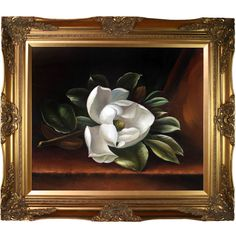 La Pastiche Martin Johnson Heade 'The Magnolia Blossom, 1888' Hand Painted Framed Art