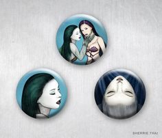 Deadly Beauties Set 2 Vampire and Mermaid Horror Gothic Women. Art pinback buttons by Sherrie Thai of shaireproductions