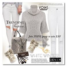 """""""On Trend: Winter White Denim"""" by svijetlana ❤ liked on Polyvore featuring Rebecca Minkoff, Borghese, polyvoreeditorial, winterwhite and yoins"""
