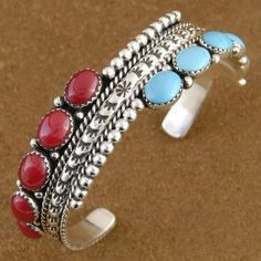 turquoise and coral silver bracelet $366.00 #nativeamericanjewelry