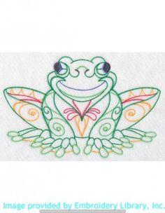 Stickmotiv Stickbild Aufnäher Stickerei Emblem Frosch  Frosch /  Stickerei Festive Frog (Vintage) (K2347)