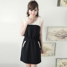 J76556 Europe fashion color matching slim wait dress [J76556] - $7.89 : China,Korean,Japan Fashion clothing wholesale and Dropship online-Be the most beautiful Lady